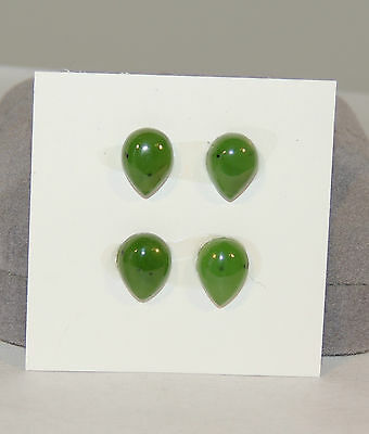 Nephrite Green Jade tear drop Cabochons 8x10mm Set of 4  British Columbia (4466)