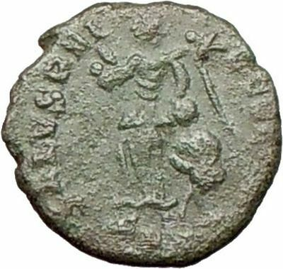 Honorius  395AD Original Ancient Roman Coin Victory w trophy Rare  i27963