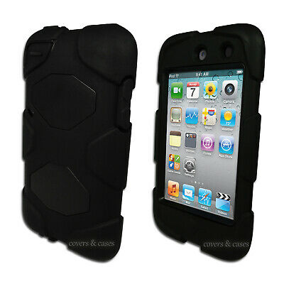 Black Tough Protective Heavy Duty Case for iPod Touch 4 4th Gen 4G Cover