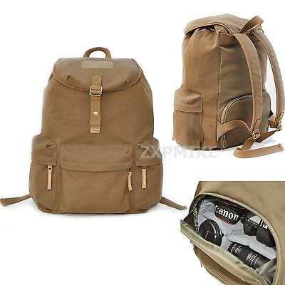 Waterproof Canvas Backpack Rucksack DSLR SLR Camera Bag For Canon Sony Nikon