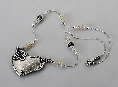 N00246SP SHABLOOL ISRAEL Didae Handcrafted FW Pearl Sterling Silver 925 Necklace