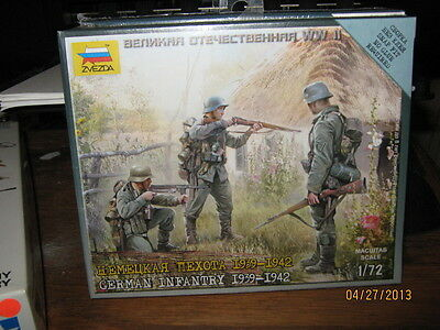 Zvezda WWII German Infantry 1939-1942-1/72 Scale-SNAP FIT-FREE SHIPPING