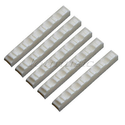 5pcs Real Bone Material Acoustic Guitar Nut,43mmx6mmx9mm 6 String Slotted