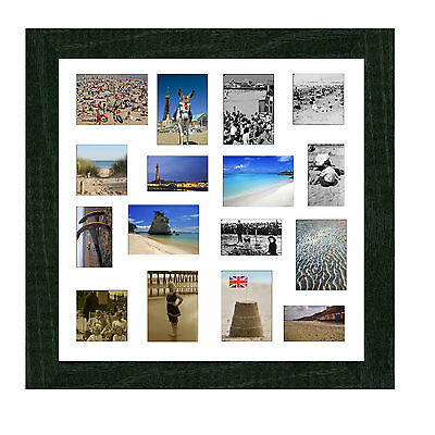 MULTI APERTURE PICTURE Frame Holds 3 8x10 Photos In Black Wood White ...
