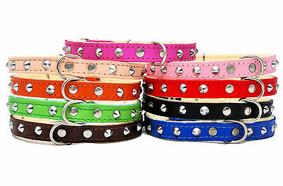 Real SOFT LEATHER STUDDED DOG PUPPY CAT KITTEN COLOURFUL COLLAR