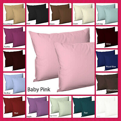 Plain Dyed PolyCotton Housewife Pillow Cases Pair Pack,  20 Colours Postage Free