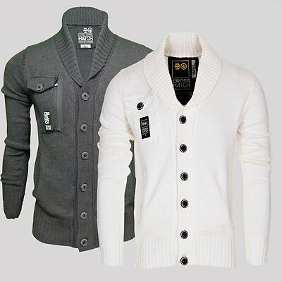 Mens Crosshatch Knitwear Cardigan Shawl Jumper Design Sweater Button Up RRP £46