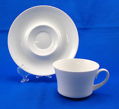 Block BLANCO Flat Cup and Saucer Set 2.5 in. All White Espana Line
