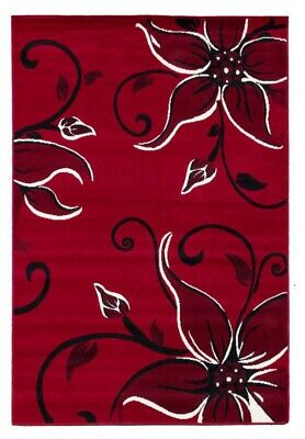 Red Floral Rug Mat Runner Modern Soft Stain Resistant Lily Lilies