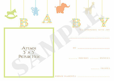 Tiny Animals Birth Announcements Fill Ins Set of 10
