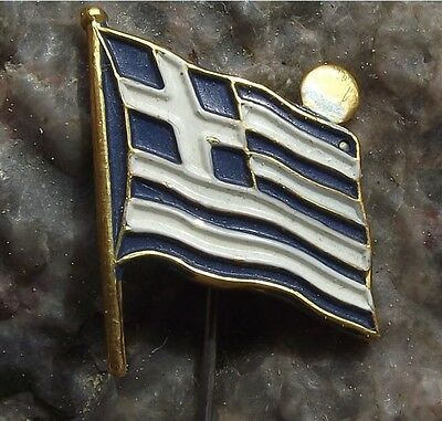Greece Greek National Flag with Rising Setting Sun Souvenier Pin Badge