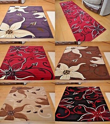 Floral Rug Runners Mat Lilies Flower Stain Resistant Wear Resistant