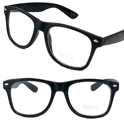 Clear Lens Black Frame Cat Eye Glasses Designer Fashion Nerd Geek Mens Womens