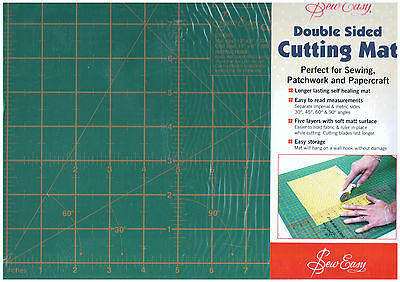 "Sew Easy Double Sided Cutting Mat 12"" X 9"" Self Healing Inches Centimeters"
