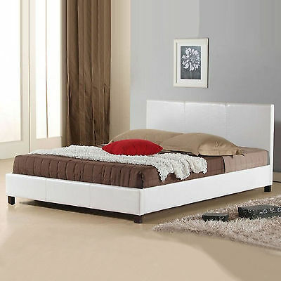 New Bed Frame Queen Size PU Leather Wooden Slat High Padded Head White Mondeo