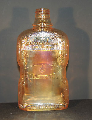 Carnival Glass Golden Wedding Whiskey Bottle over 7 inches tall (4398)
