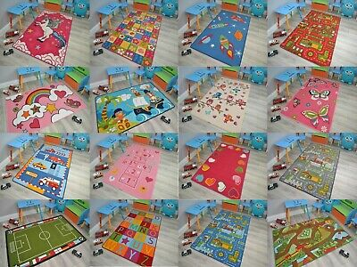 Childrens Play Room Mat Rug Fun Bedroom Soft Washable Anti Slip Rubber Backing