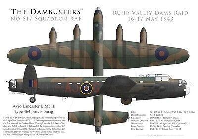 Print Avro Lancaster, W/C Guy Gibson, 617 Sqn, Operation Chastise (by G. Marie)