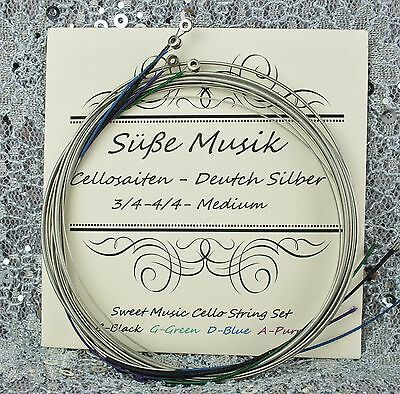 Cello String Set German Silver C-G-D-A for Full Size 4/4 -3/4 Süße Musik