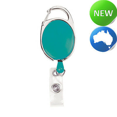 Retractable Office ID Card Badge Reel C/Clip TEAL (Carabiner Style Clip)