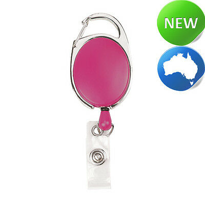 Retractable Office ID Card Badge Reel C/Clip ROSE PINK (Carabiner Style Clip)
