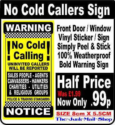 No Cold Callers Front Door/ Window Sticker, Sign  SECURITY NOTICE (Decal Yellow)