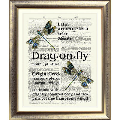 ART PRINT ON ORIGINAL ANTIQUE BOOK PAGE Vintage Dictionary Dragonfly Picture