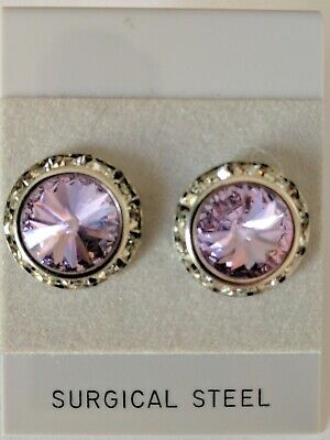 Violet Pierced Earrings Go With Horse Show Number Magnet Swarovski Crystals