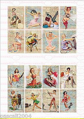16  Pin Up Retro Girl Bügelbilder auf  Din A4 Transferfolie   DIN A4  NO.1270