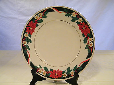 Tienshan China-Deck the Halls-DINNER PLATE-Poinsettia-Holly-Multiples Available