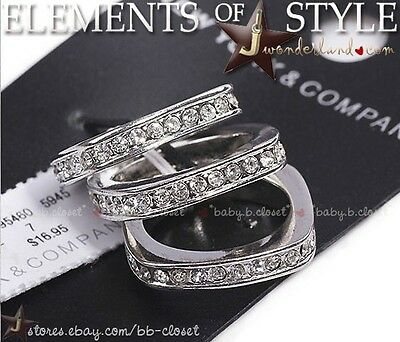 NEW YORK & CO Plated Sterling Silver Cubic Zirconia Set of 3 Ring Square S 6 7