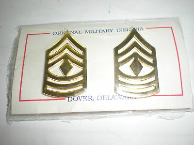 Us Army First Sergeant  Metal Collar Rank- 1 Pair
