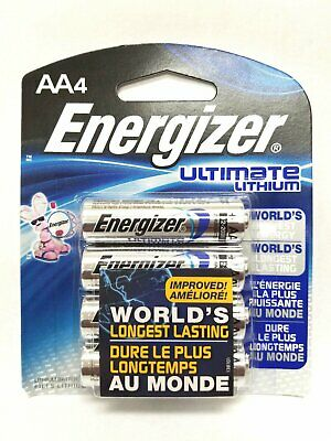 4 AA Energizer Ultimate Lithium Batteries L91BP-4 Exp. 2036 - 1.5v New - Sealed