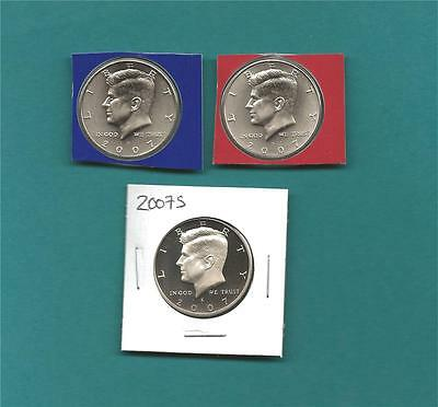 2007 P D and S Satin BU and GEM Proof Kennedy Half Dollar  Set -Three Coins