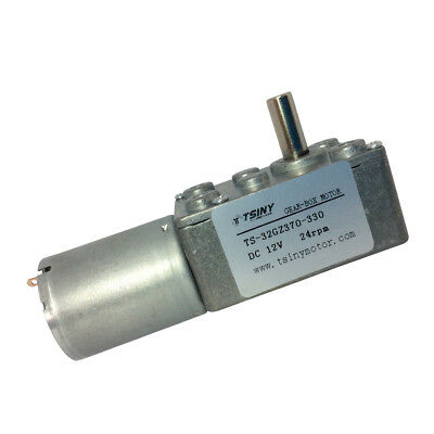 12V 24rpm Square Speed Gear Box Worm Geared DC Motor 370 Motor Reversible