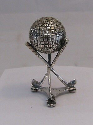 Antique Silver Golf Ball Club Salt Shaker