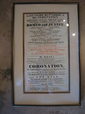 Antique 1821 Romeo & Juliet Playbill from Theatre Royal Drury Lane