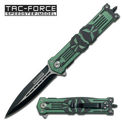 "TAC FORCE  "" Punisher "" Stiletto Style Spring Assist Knife - Green Handle"