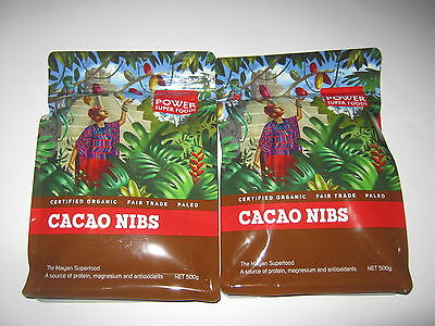 POWER SUPER FOODS 1kg Raw Pure Cacao Nibs CERTIFIED ORGANIC (Mayan Superfood)