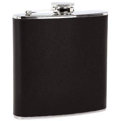 New 6 oz Stainless Steel Hip Pocket Flask Black Faux Leather Wrap Screw Down Cap