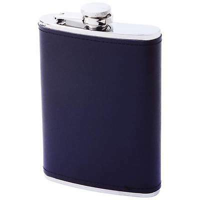 8 oz Stainless Steel Hip Pocket Flask Screw Down Cap Solid Leather Black Wrap
