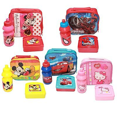 Official Kids Cartoon Character Sandwich Pack Lunch Bag Box and Drink Bottle Set