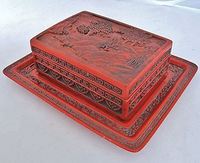 "4.7"" Chinese or Japanese Antique Cinnabar Red Lacquer Trinket Box w/ a 6.9"" Tray"