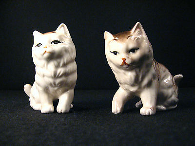 KITTY CAT PAIR OF FIGURINES Vintage Brown & White Figures Kittens Ceramic Small