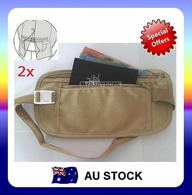 2x Travel Security Waist Pouch Passport Money Card Ticket Belt Bag Hidden Wallet