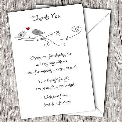 Personalised WEDDING Thank You Cards (Postcards) • Glossy • Lovebirds