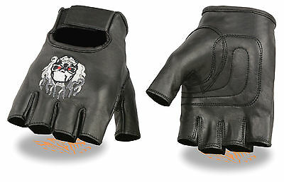 Men's Leather Skull & Flame Embroidered Motorcycle Fingerless Glove w/ Gel Palm