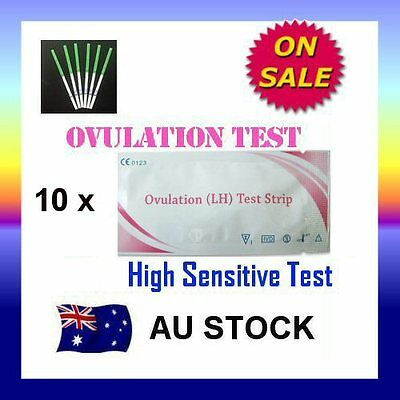 10 x Ovulation (LH) Test Strips Urine Fertility Kit OPK High Sensitive