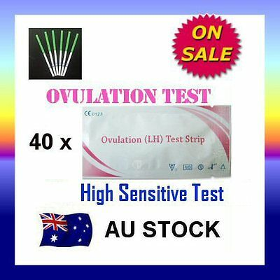 40 x Ovulation (LH) Test Strips Urine Fertility Kit OPK High Sensitive