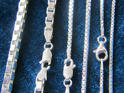 Sterling Silver Chain Necklace Box{0.8mm,1mm,1.4mm,1.5mm,2mm,3.8mm} Italy
